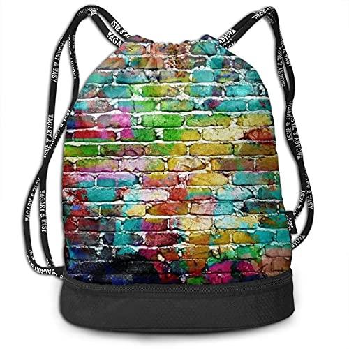 DJNGN Mochila con cordón de Ladrillos Coloridos de Graffiti, Gimnasio, Compras, Deporte, Yoga, Bolsa de Cuerda, Mochila