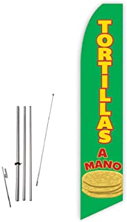 Tortillas A Mano (Green) Super Novo Feather Flag - Complete with 15ft Pole Set and Ground Spike