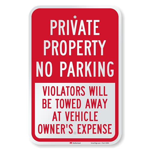 """SmartSign - K-5476-EG-12x18 """"Private Property - No Parking Violators Towed"""" Sign 