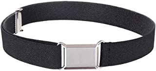 ZoneStar Fashion Boys Girls Kids and Baby Adjustable and Elastic Dress Stretch Belt with Silver Buckle