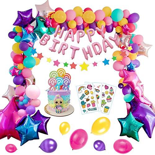 Decoraciones de Cumpleaños Niña, MMTX Decoraciones de Fiesta 77 Piezas Globos de Fiesta con Pancarta de Feliz Cumpleaños, Globos de Aluminio, Globos de Látex para Niñas Mujeres Niños Adultos