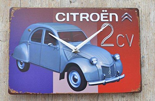 Schmiedegarten Wanduhr Citroen Ente 2CV - Uhr aus Metall im Vintage Shabby Stil - Blechschild Hängeuhr Oldtimer Lautlos
