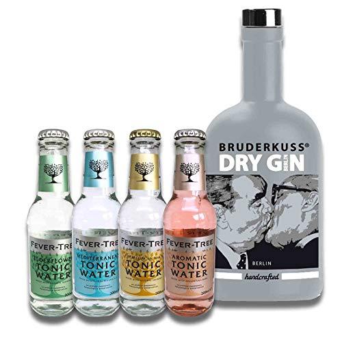Gin Tonic Geschenkset | Probierset mit Gin und verschiedenen Tonic Water im Geschenkkarton (Bruderkuss Gin + 4 Fever-Tree Tonic Water)