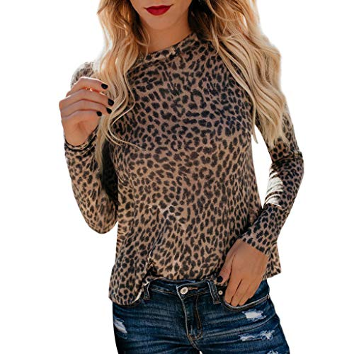Longra Blusen Damen Elegante Blusen Lässiger Leopard Gedruckt Hemd Bluse Damen Frühling Langarmshirt Casual Sweatshirt Pullover Leopard Muster Tunika Blusen (M, Gelb)