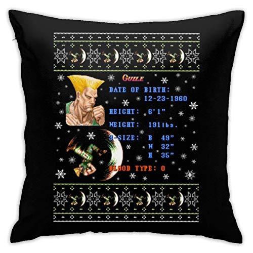 INGXIANGANCHI Street Fighter Christmas Guille Strickmuster-Kissenbezug, doppelseitiger Druck, versteckter Reißverschluss-Kissenbezug, wunderschöner bedruckter Muster-Kissenbezug 18 Zoll 18 Zoll