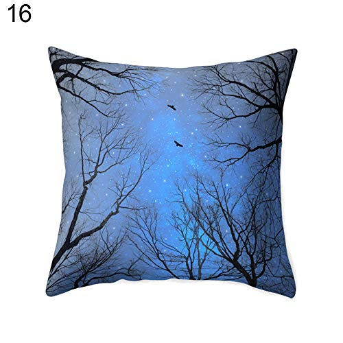 hearsbeauty Forest Dreamlike Scenery Decorative Watercolour Throw Pillow Covers Cushion Covers Green Square Outdoor Pillowcase for Sofa 16#