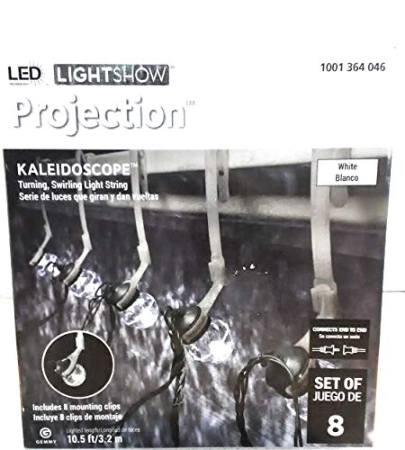 Gemmy Lightshow 8 Kaleidoscope Projection String Light Bulbs White LEDs w/Clips