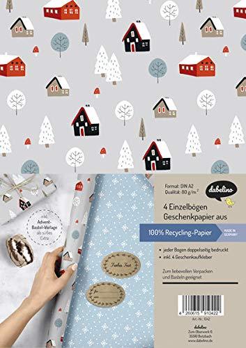 Geschenkpapier Set Weihnachten: Skandinavische Winterlandschaft: 4x doppelseitige Einzelbögen + 4x Geschenkaufkleber