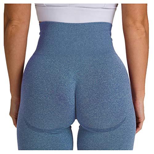 Pantalones deportivos para mujer, pantalones de yoga, mallas ajustadas, cintura alta, color liso azul marino M