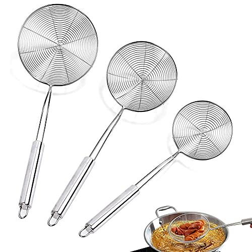 Espumadera Colador,3 unidades Acero inoxidable Net colador,Mango largo,Para Freír Alimentos,Pastas,Espaguetis y Fideos(diámetro12,14,16cm)