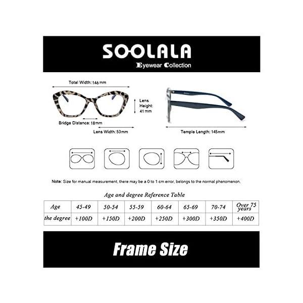 SOOLALA Female 4-Pair Mixed Colors Cateye Frame Reading Glasses