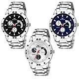 BEARDO Analogue Men's Watch (Multicolour Dial Silver Colored Strap) (Pack of 3)