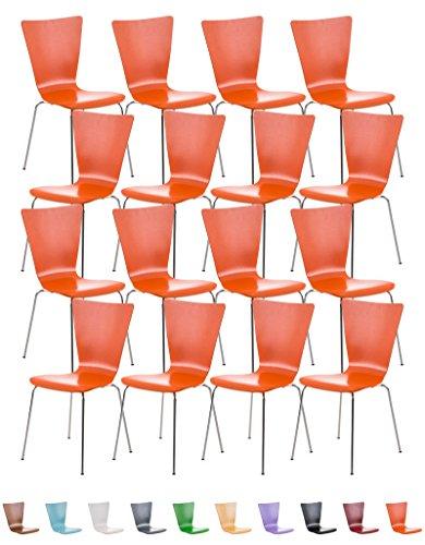 CLP-Sedia impilabile/Buerostuhl24-AARON (16x), resistenti e semplici da lavare, ergonomiche sagomate con seduta in legno, colori assortiti Arancione