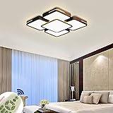 64W Lámpara de techo LED Regulable Plafon Techo Led Cuadrado Iluminación interior para Dormitorio Comedor Cocina Balcón Marco de Concha Negro [Clase de eficiencia energética A++]