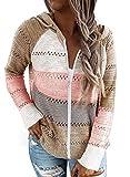Sidefeel Women Long Sleeve Zip-Up Color Block Knited Hoodie Jacket Coat 2XL Multicolor from