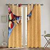 Cortinas Punch,Mexican Boho Hat Mexico Beach Sombrero Fiesta Living Room Bedroom Window Drapes 2 Panel Set,104 WX 72 L Inches