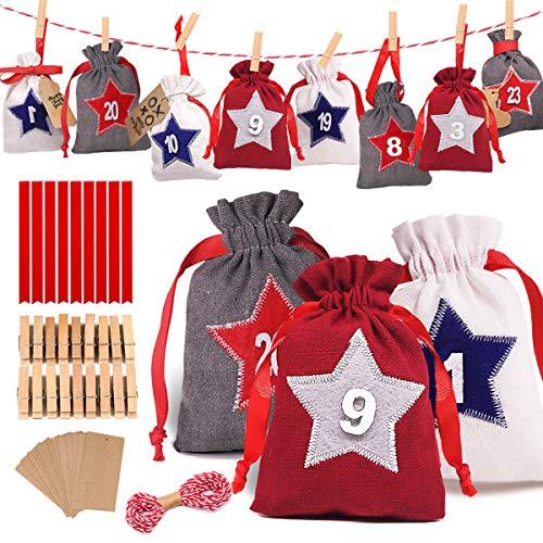 Alintor Adventskalender zum Befüllen, 24 Star Groß Stoffbeutel, Weihnachten Geschenksäckchen mit Zahlen, Adventskalender 2020, Weihnachtskalender Bastelset Füllung für Männer Kinder