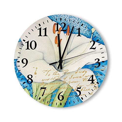 DKISEE Reloj de pared redondo de cuarzo silencioso sin garrapatas – Arum Flower de madera decorativo para dormitorio, sala de estar, hogar, 30,4 x 30,4 cm