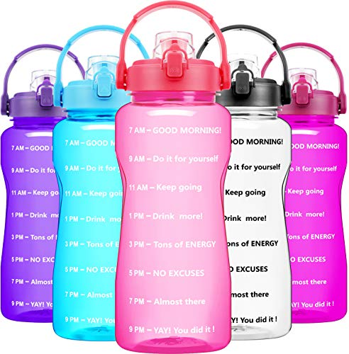 BuildLife Half Gallon Water Bottle No Straw - 64 OZ BPA Free Motivational Goals Water Jug with Time Marker & Flip Top Leakproof Lid (Light Pink,64OZ)