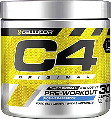 Cellucor C4 Original Pre Workout Powder Energy Drink for Men & Women with Creatine, Caffeine & Beta Alanine, ICY Blue Razz, 30 Servings