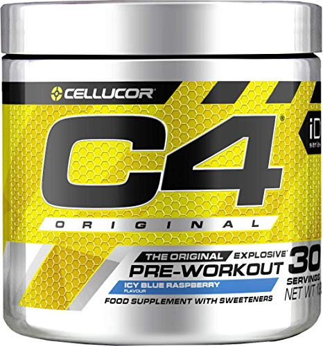 C4 Original Pre Workout Powder Icy Blue Razz | Preworkout Energy Drink Supplement | 150mg Caffeine + Beta Alanine + Creatine Monohydrate | 30 Servings