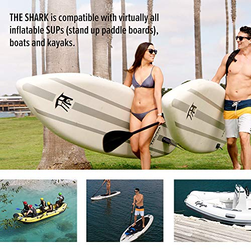 Product Image 6: OutdoorMaster Shark High Pressure SUP Pump – Electric Air Pump with 20 PSI Active Cooling System Dual Stage Inflation & Auto-Off for Inflatable Paddle Board, Boats, Water Sports Inflatables -2nd Gen