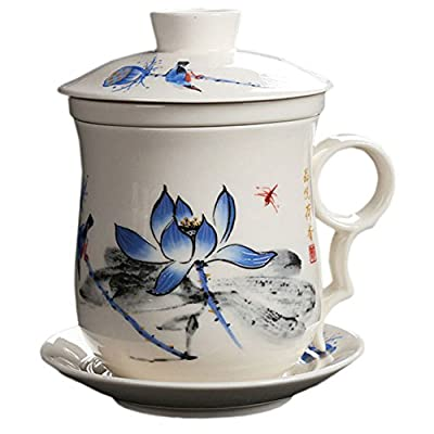 BandTie Convenient Travel Office Loose Leaf Tea Brewing System-Chinese Jingdezhen Blue and White Porcelain Tea Cup Infuser 4-Piece Set with Tea Cup Lid and Saucer (Blue Lotus)