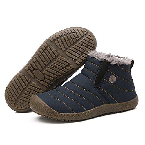 Stivali da Neve Unisex Scarpe riscaldanti in Tinta Unita Stivaletti Slip-on Coppia di Scarpe per Uomo Donna Scarpe Invernali da Esterno Blu, 44 Uniquelove