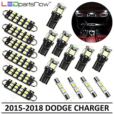 LEDpartsNow Interior LED Lights Replacement for 2015-2018 Dodge Charger Accessories Package Kit (17 Bulbs), WHITE