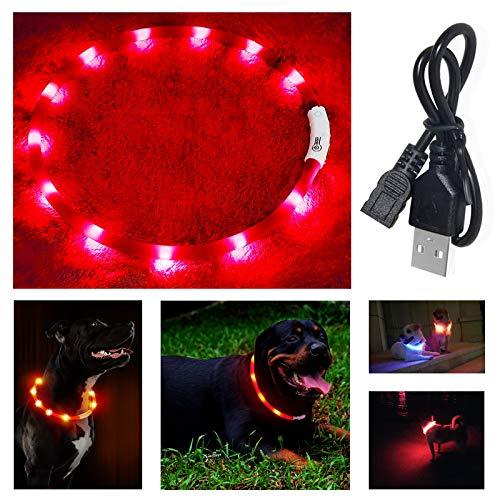 Hundehalsband Leuchtend, Haustier Sicherheit Leuchthalsband Hund, Längenverstellbarer LED Leuchthalsband Halsband Hund USB Wiederaufladbar, Halsband Für Kleine Mittel Groß Hunde, 3 Modus (Rot)