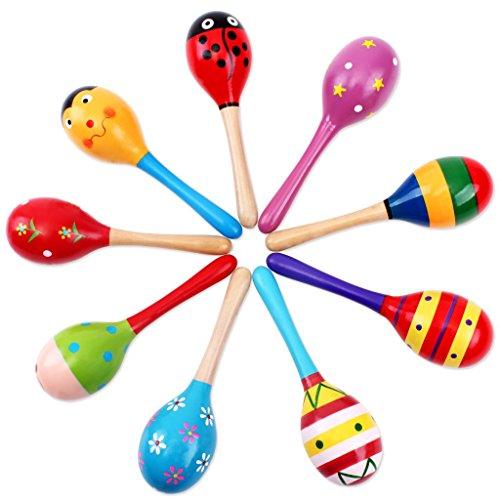 Fablcrew Bambino Maraca Rattle Legno Shaker Musicale Sabbia Martello sonaglio Giocattoli per Bambini 1pcs(Colore Casuale e Modello) Size 19CM