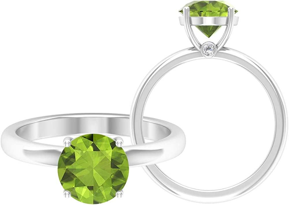 Peridot Ring 2.03 CT Round Gemstones All items in the store Large-scale sale D-VSSI 8 Moissanite So MM