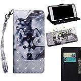 THRION LG X Power3 Hülle, PU 3D Brieftaschenetui mit magnetischer Handschlaufe und Ständerhalterung für LG X Power3, Hund -
