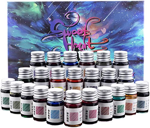 24 Farben Kalligraphie-Tinten-Set, Kalligraphie-Füllfederhalter, Glas Dip Pen Color Ink Caligrapher Pen Ink Bottle Set, Gold Powder Drawing Writing Art Ink With Gift Box – 24 x 7 ml