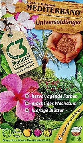 Lück´s original Mediterrano Universal Dünger 1,5 Kg für mediterrane Pflanzen, Bananen, Oliven, Zitronen, Hanfpalmen, Palmen