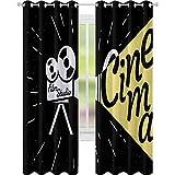 Cortinas de tratamiento de ventana, proyector de película con letras de cine Grunge sobre fondo negro, 2 paneles de ancho 52 x 108 cortinas para dormitorio, amarillo, negro y blanco