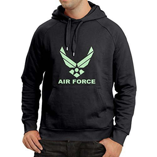 lepni.me Sudadera con Capucha United States Air Force (USAF) - U. S. Army, USA Armed Forces (XXX-Large Negro Fluorescente)