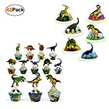 Dinosaur Party Supplies Cupcake Toppers and Wrappers 24 Pack and Dino Birthday Favor Paper Hats 24 Pack for Kids Girls Boys