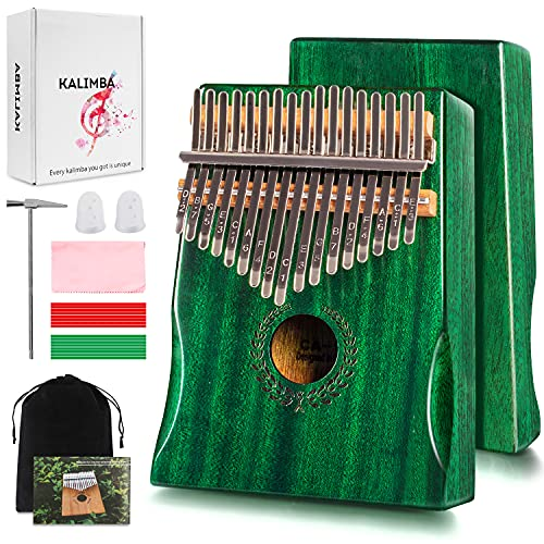 Kalimba Thumb Piano 17 Keys Bright Green - Portable Mbira Finger Piano with Music Books Gifts for Kids Adults Beginners