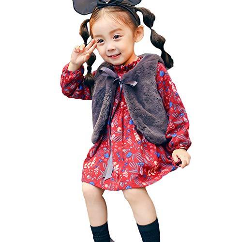 MEIbax Babykleidung MEIbax Neugeborenes Baby Mädchen Cartoon Warme Prinzessin Kleid + Weste Outfits Kleidung Set 2 Stück Herbst Winter Ärmellose Weste Warm Outwear