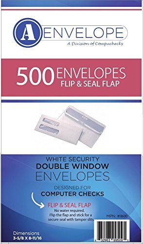 500 Double Window Security Envelopes for Checks - SELF Seal/FLIP & Stick - Compatible for QuickBooks - (Item # 8600)