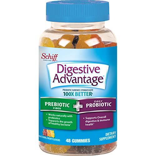 Prebiotic Fiber Plus Probiotic Natural Fruit Flavor Gummies, Digestive Advantage (48 Count in A Bottle) - Supports Digestive & Immune Health*