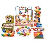 Moonvvin - Posavasos de Madera con Cuentas de Arce, diseño de Cuadros, Rompecabezas, Puzzles para niños y niñas
