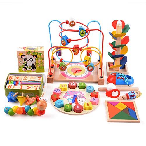 Asdomo Tangram - Posavasos de madera con cuentas de laberinto, rompecabezas para el cerebro con palos de conteo de juguete, clasificar la forma, juguete educativo para niños pequeños