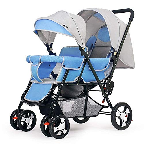 New Airhtry-1982 Simple Four-Wheeler Double Stroller Outdoor Play Front and Rear Umbrella Folding Fo...