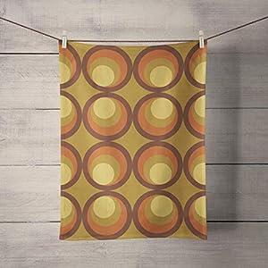 Geometrische Retro Senf und Brown Tea Dish Handtuch Küchentextilien