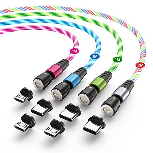 Melonboy マグネット 充電ケーブル 流れるLEDライト USBケーブル 3A急速充電 データ転送 マグネット 540°回転 android Type-c Micro usb 着脱式 充電器 磁石 磁気 4本セット(1m1m1m2m)