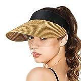 Sombreros con Visera para el Sol para Mujer, Sombrero de Paja Enrollable con Cola de Caballo de ala Ancha, Sombrero de Playa de Verano, UV UPF, Plegable, Plegable, de Viaje