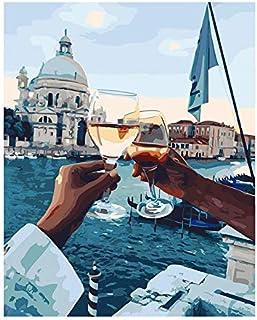 DIY Pintura al óleo Dibujo Brindis con vino Pintura hecha a mano Lienzo de alta calidad Hermosa pintura Por números Regalo sorpresa Gran logro 40 * 50cm