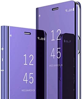 For Samsung Galaxy S10 Plus Clear View Window Stand Mirror Case Shockproof Full 360 Body Protective Flip Phone Cover - Purple